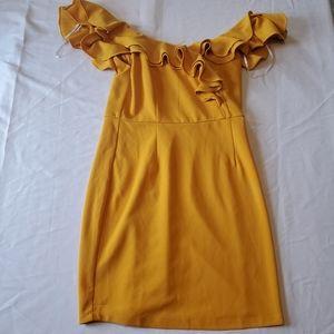 Lulu's Dance floor diva mustard body con dress L